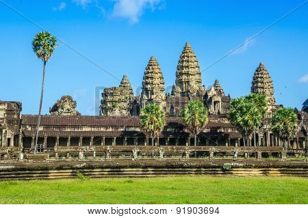 Angkor Wat Temple in sunny day, Cambodia.