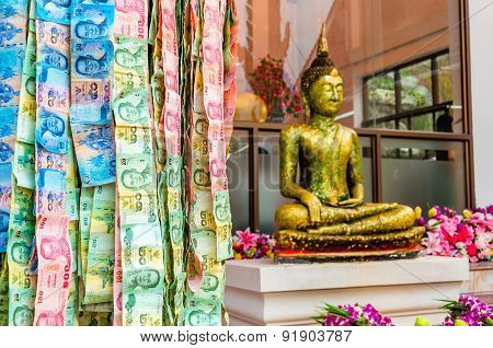 Lottery Money on the street of Bangkok by temples