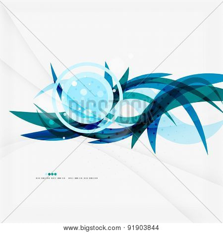 Clean blue wave lines on white, abstract background