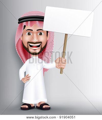 Realistic Smiling Handsome Saudi Arab Man Character