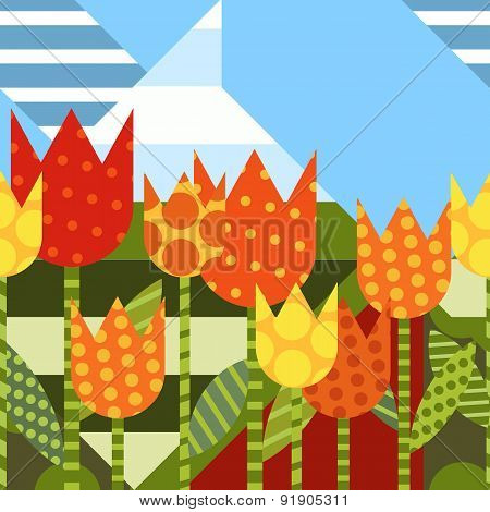 Vector Floral Seamless Background. Flat Creative Illustration With Yellow Tulip Flower. Abstract Col