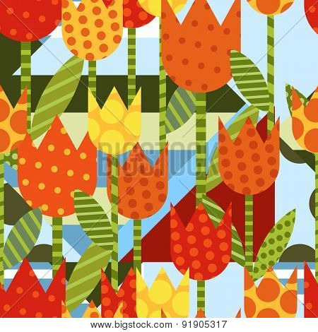 Vector Floral Seamless Pattern. Flat Creative Background With Yellow Tulip Flower. Abstract Color Bl