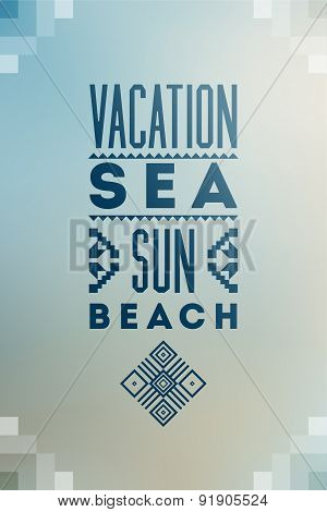 Summer time poster. Vector typographical design on blurry background with folk ornaments. Eps 10.