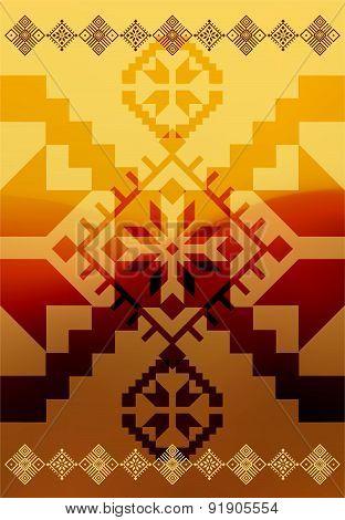 Vector ethnic ornamental design on blurry background. Eps 10.