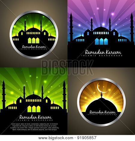 vector attractive set of ramadan kareem background festival of muslim with mosque illustration