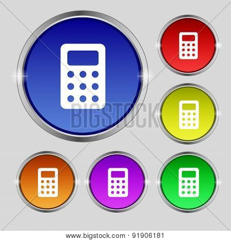 Calculator, Bookkeeping Icon Sign. Round Symbol On Bright Colourful Buttons. Vector