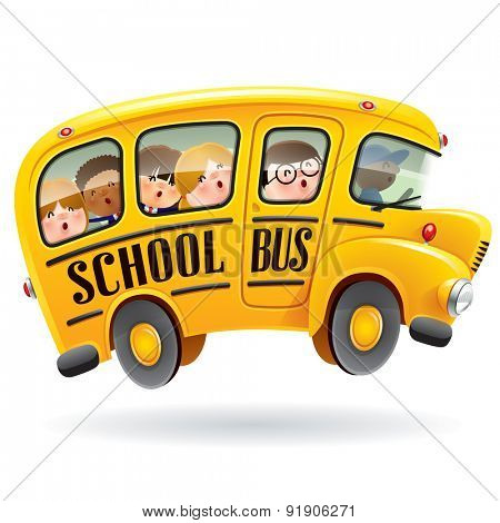 School bus. Kids riding on school bus.