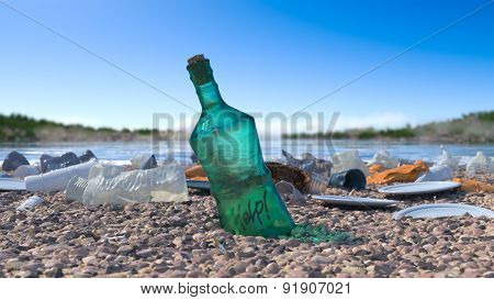 garbage on the sea beach ecologic concept background