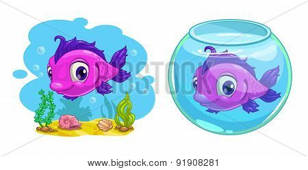 Cute Cartoon Pink Fish