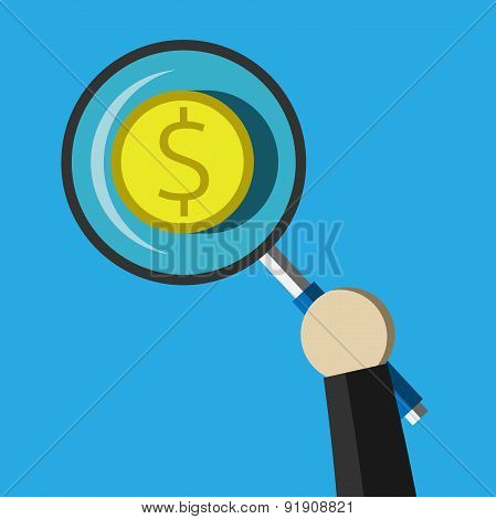 Dollar Coin Under Magnifier