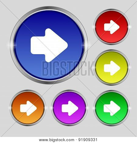 Arrow Right, Next Icon Sign. Round Symbol On Bright Colourful Buttons. Vector