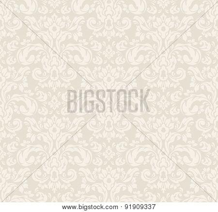 Pale Vintage Floral Pattern on Grey