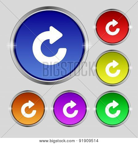 Upgrade, Arrow Icon Sign. Round Symbol On Bright Colourful Buttons. Vector