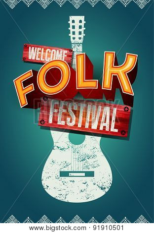 Folk festival poster with acoustic guitar shape. Vector illustration.