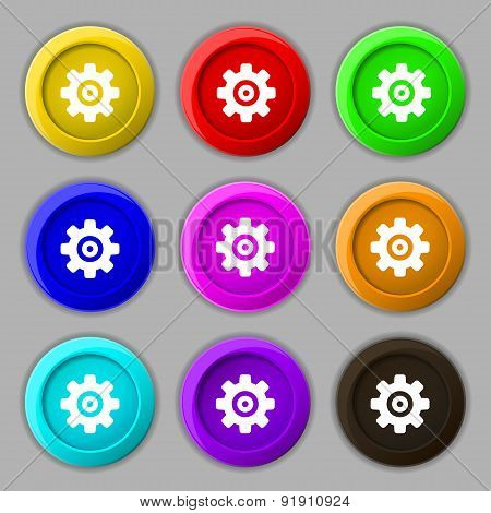 Cog Settings, Cogwheel Gear Mechanism Icon Sign. Symbol On Nine Round Colourful Buttons. Vector