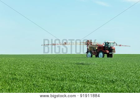 Spraying The Herbicides