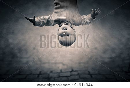 Inverted world of little boy