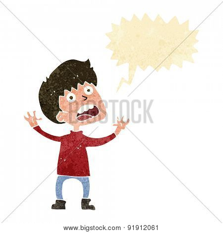 cartoon stressed boy with speech bubble