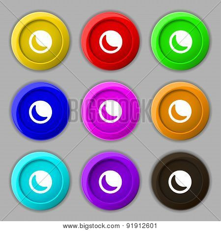 Moon Icon Sign. Symbol On Nine Round Colourful Buttons. Vector