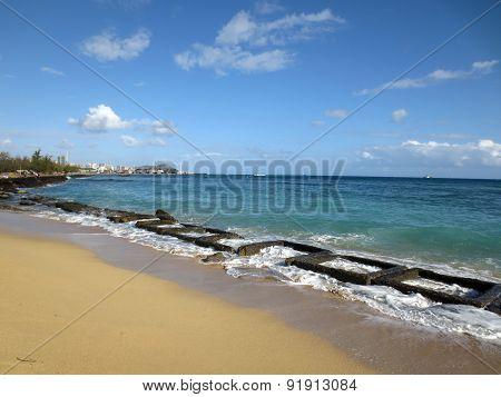 Old Military Water Break On Sand Island Beach