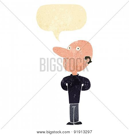cartoon balding man with speech bubble