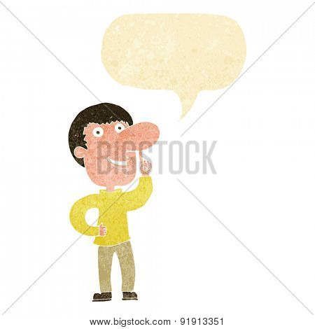cartoon man with idea with speech bubble