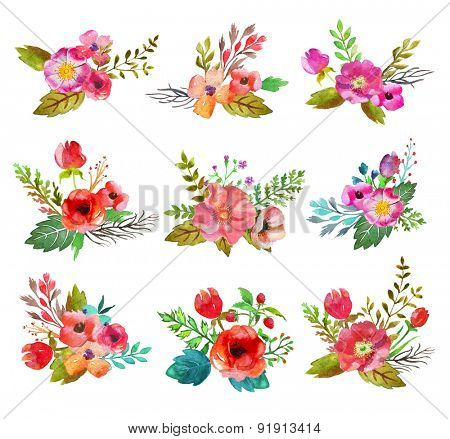 Watercolor hand drawn  buttonholes with colorful flowers and leaves. The art paint on white background