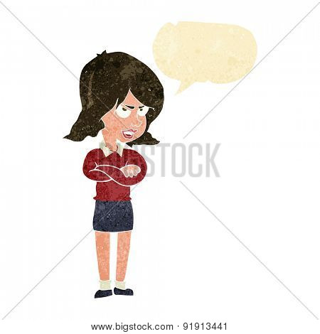 cartoon angry woman with speech bubble