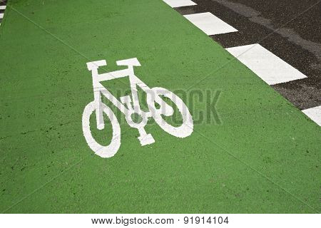 Bike lane sign painted on a street.