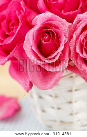 pink roses in the basket