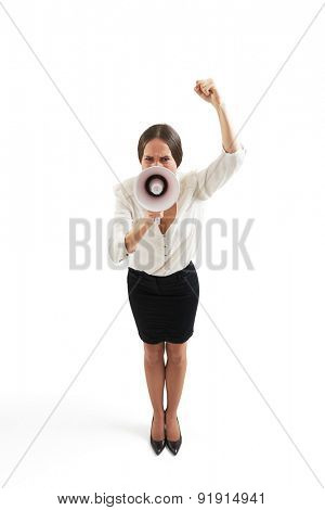 angry emotional in formal wear woman screaming with megaphone and showing her fist. isolated on white background
