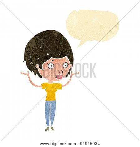 cartoon woman raising hands in air with speech bubble