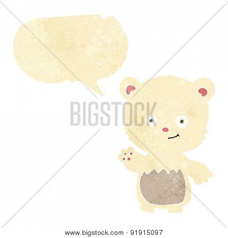 cartoon polar bear cub waving with speech bubble