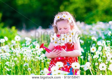 Little girl with water can in a daisy flower field