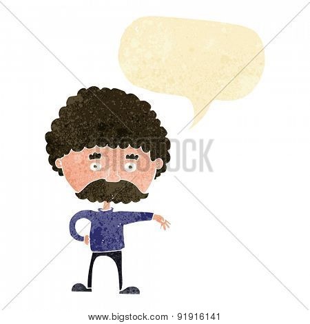 cartoon man with mustache making camp gesture with speech bubble