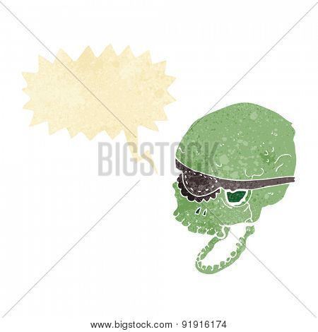 cartoon spooky skull with eye patch with speech bubble