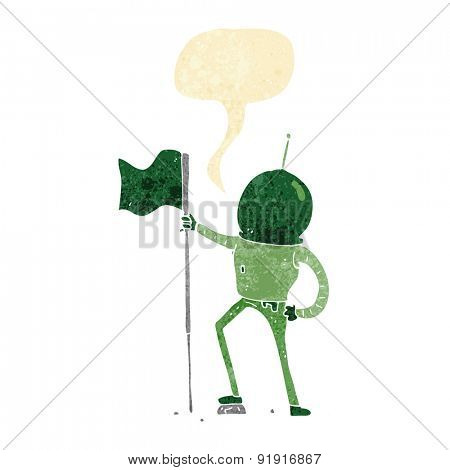 cartoon astronaut planting flag with speech bubble