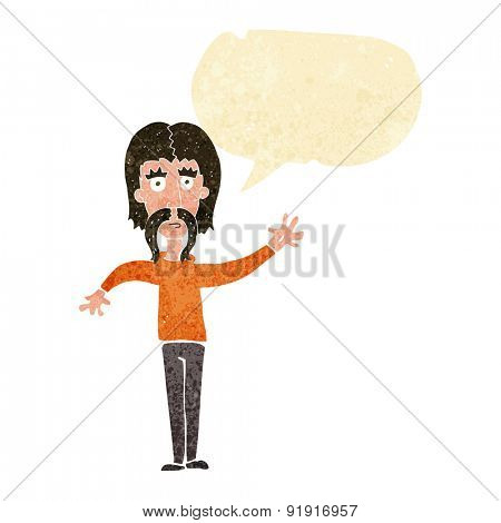 cartoon waving man with mustache with speech bubble
