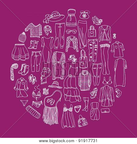 Vector Set Of Different Women Clothes And Accessories, From Underwear To Outerwear.