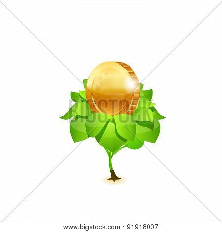 Coin with leafs. Vector