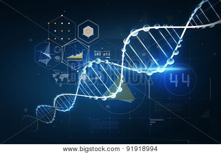 science, chemistry, biology, technology and research concept - dna molecule chemical structure with projections over dark background