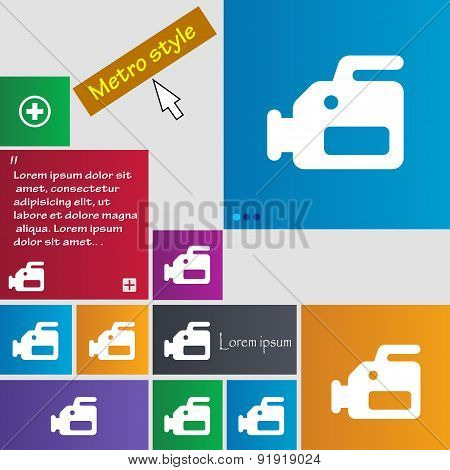 Video Camera Icon Sign. Metro Style Buttons. Modern Interface Website Buttons With Cursor Pointer. V