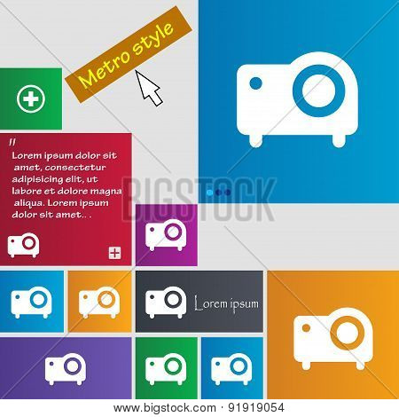 Projector Icon Sign. Metro Style Buttons. Modern Interface Website Buttons With Cursor Pointer. Vect