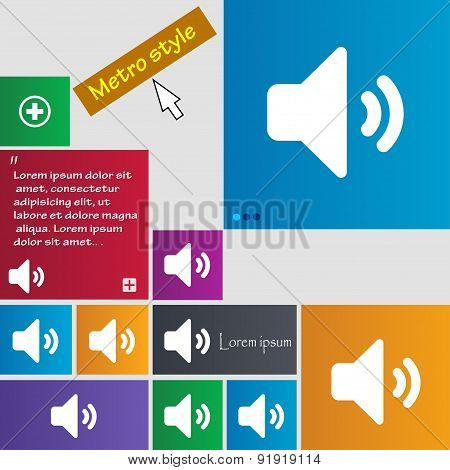 Speaker Volume, Sound Icon Sign. Metro Style Buttons. Modern Interface Website Buttons With Cursor P