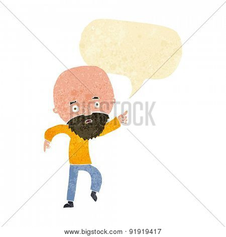 cartoon worried old man pointing with speech bubble
