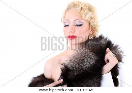 Blondie Woman With Fur Collar Dreaming. Marilyn Monroe Imitation