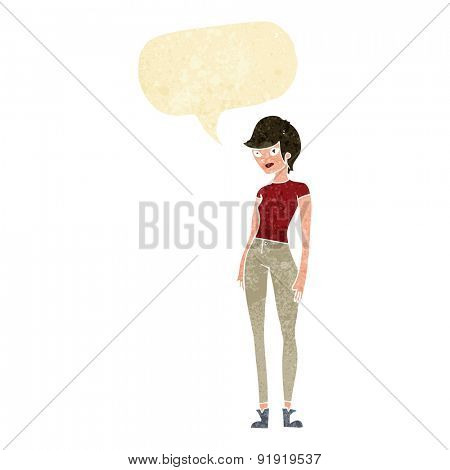 cartoon modern attractive woman with speech bubble