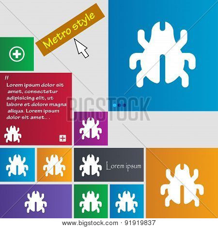 Software Bug, Virus, Disinfection, Beetle Icon Sign. Metro Style Buttons. Modern Interface Website B