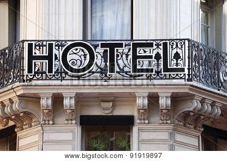 Hotel Entrance Sign In Paris