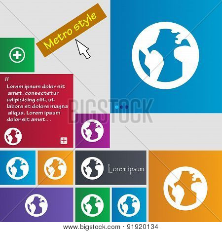 Globe, World Map Geography Icon Sign. Metro Style Buttons. Modern Interface Website Buttons With Cur